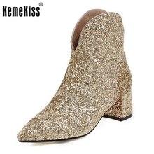 Femmes Mode Bout Pointu Cheville Bottes Femme Talon Carré Court Botas Marque Nouvelles Dames Glitter Chaussures Chaussures Femme Taille 32-43