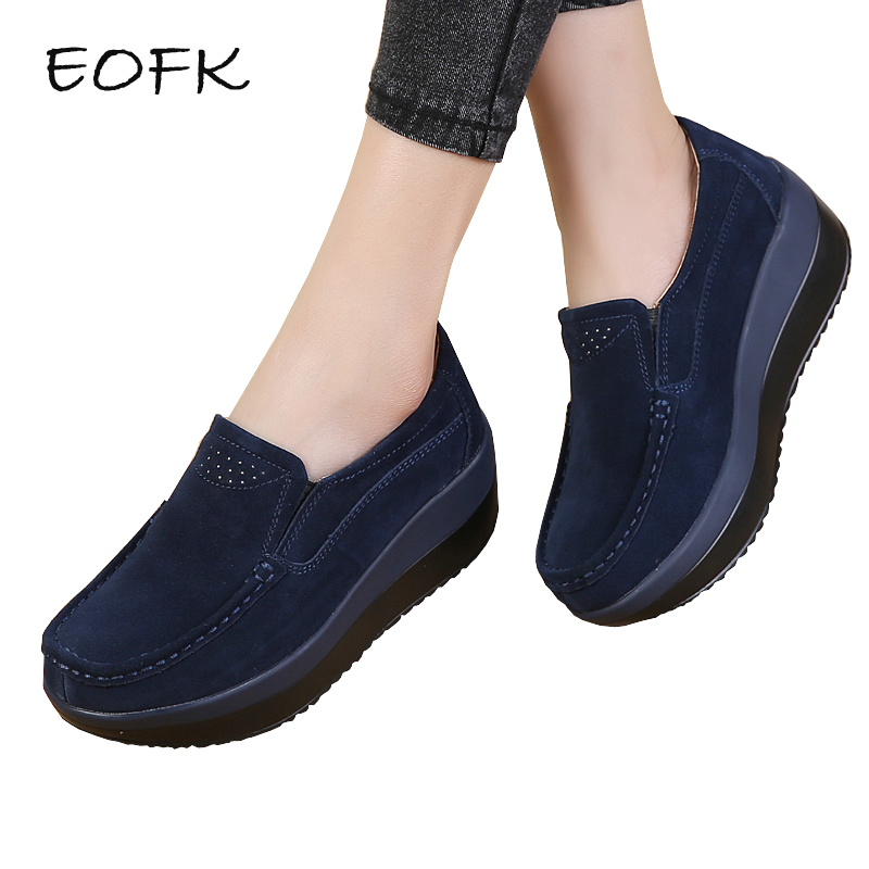 EOFK Women Flats Platform Loafers Ladies Elegant Genuine Leather Moccasins Shoes Woman Autumn Slip On Casual Women's Shoes 2018 autumn new vintage casual handmade shoes woman flats genuine leather fashion women shoes slip on women s loafers moccasins