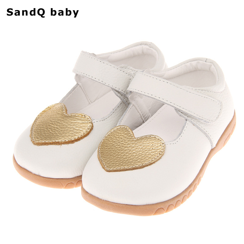 Girls Shoes 2020 New Spring Golden Heart Genuine Leather Children Shoes Soft Breathable Casual Kids Single Shoes Zapatos