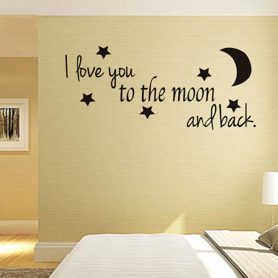 I Love You To The Moon And Back Love Quotes DIY Wall Sticker For Living Room Decoration Wallpaper Wall Art Decals Home Decor ...