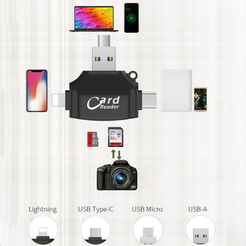 3.0 High-Speed 4-Port Camera SD Card Mini TF Card Reader Type C Micro SD Mobile Phone Computer OTG Card Reader