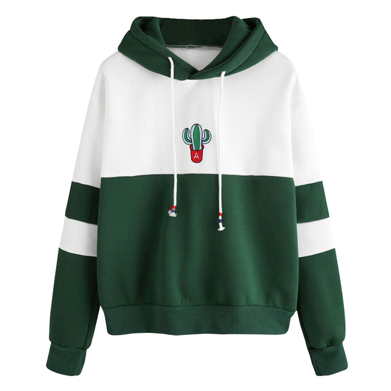 Women Hoodies Hooded Sweatshirt Color Splicing Long Sleeves Front Pockets Pullovers Outwear Stranger Things Moletom Feminino