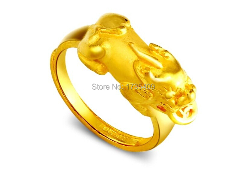 Pure Solid 24K Yellow Gold Ring 3D Bless Dragon Son Ring 6 2g