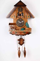 Wall rotating dolls musical alarm clock fashion vintage cuckoo clock wood carving new year decoration kids gifts