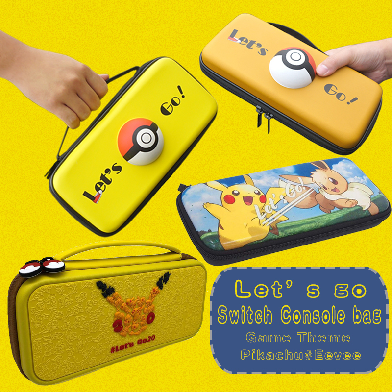 For Nintendos Switch Console Storage Package Bag Game Let's go Pika Eevee NS Switch Travel Carrying Holder Pouch Handbag Case