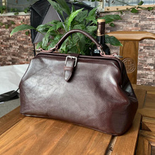 Women Handbag Doctor-Bags Genuine-Leather Top-Quality Long-Strap Manual Natural-Cowhide