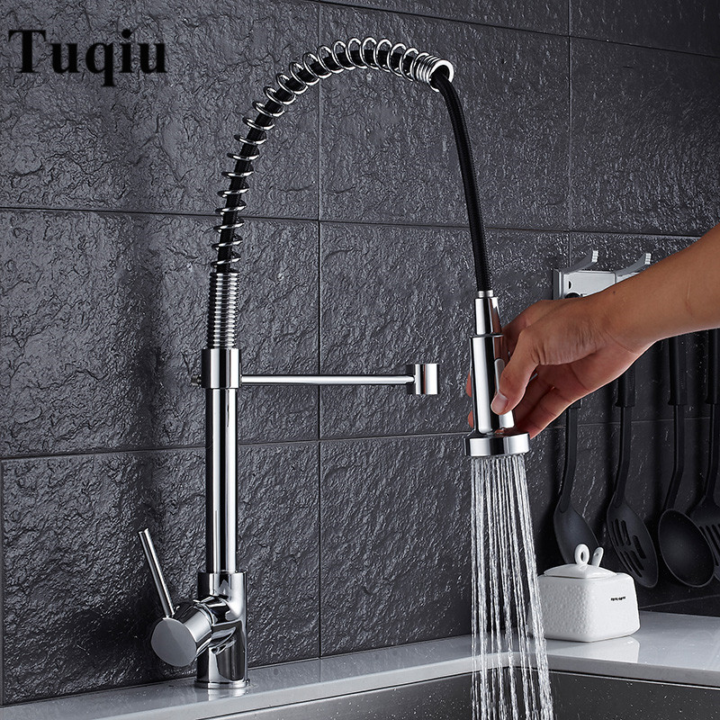 Kitchen Faucet Brushed Nickel/Chrome Brass Pull Down Spring Spout Faucets Kitchen Sink Mixer Tap Hot Cold Deck Mounted Water Tap fapully chrome finish single spout kitchen sink faucet deck mount spring kitchen mixer tap kitchen hot and cold water tap
