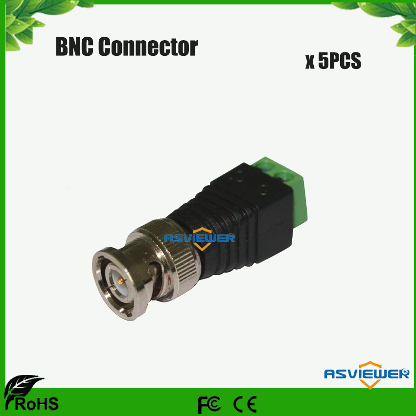 CCTV Accessory Coax CAT5 To Camera CCTV BNC M Video Balun Connector, DC Connector BNC-Screw 5pcs/lot