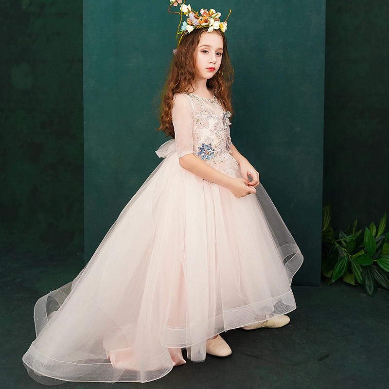 Holy Communion Dress Small Trailing Ball Gown Flower Girl Dresses Wedding Appliques Evening Gowns Beading Princess Dress B314Holy Communion Dress Small Trailing Ball Gown Flower Girl Dresses Wedding Appliques Evening Gowns Beading Princess Dress B314