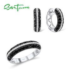 SANTUZZA набор украшений для женщин натуральный черный белый CZ камни Кольцо Серьги изысканный набор 925 пробы Серебряный Модный комплект ювелирных изделий
