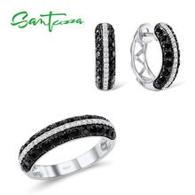 SANTUZZA Jewelry Set For Women Natural Black White CZ Stones Ring Earrings Exquisite Set 925 Sterling Silver Fashion Jewelry Set