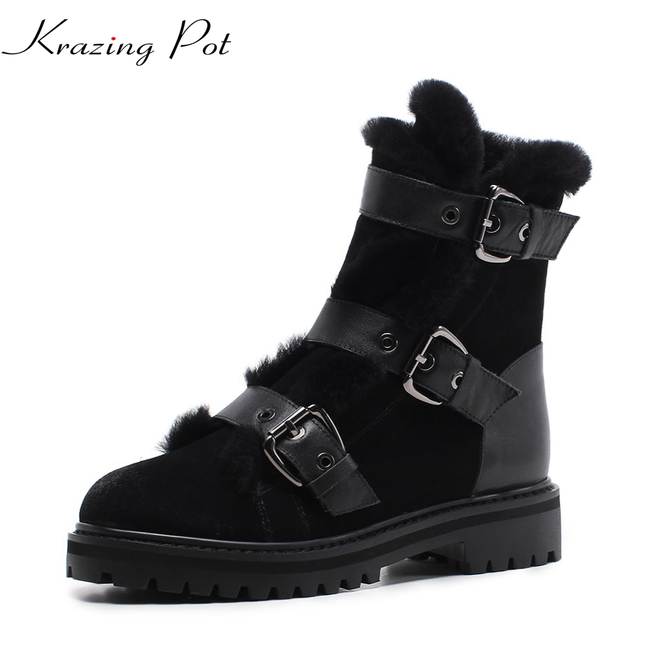 Krazing Pot 2018 cow suede metal buckle round toe thick heels fashion boots winter snow boots superstar women mid-calf boots L91 double buckle cross straps mid calf boots