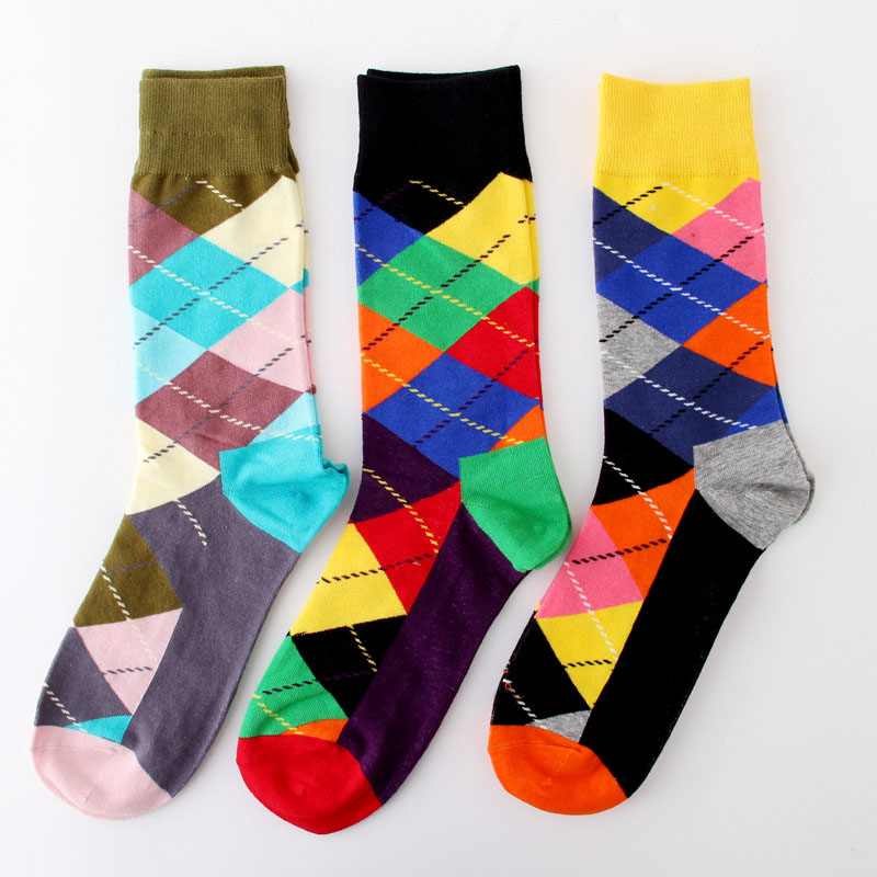 Happy Argyle Business Socks Men Colorful Pattern Professional Skateboard Socks
