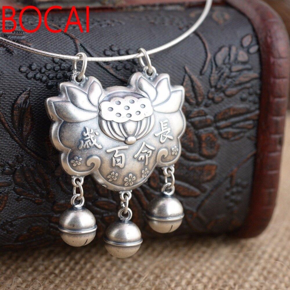 Cerfs Roi bijoux en gros argent S990 argent fin lotus pendentif antique style verrouiller la longévité