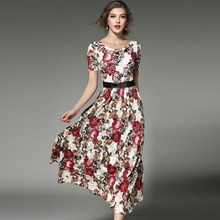 2017 new arrival Fashion printed Lace dresses women O-neck short sleeve Long vestidos female boho style plus size free shipping