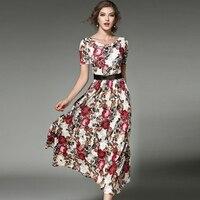 2017 new arrival Fashion printed Lace dresses women O-neck short sleeve Long vestidos female boho style plus size free shipping