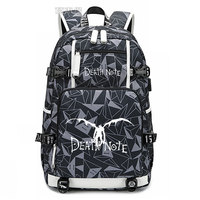 New Death Note Backpack laptop bag Men Anime Travel bags luminous USB Oxford Backpack schoolbag