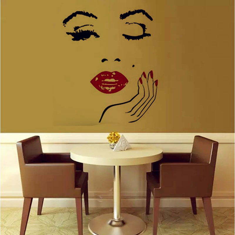 Beauty Salon Girl Face with Hand Manicure Nail Lips Wall Decals ...