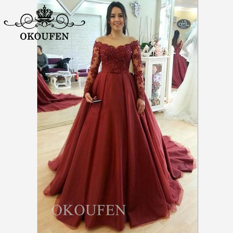 Burgundy Prom Dresses For Women Sheer Lace Appliques Beads Long Sleeves 2019 Off Shoulder Puffy A Line Evening Dress Formal Gown