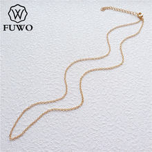 FUWO Wholesale Brass Round O Chain Necklaces High Quality Anti Tarnish 24k Gold Dipped Chain For Jewelry Making 1.5*2.0mm NC001