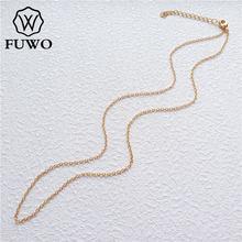Оптовая продажа, латунные круглые ожерелья FUWO, круглые ожерелья цепочки высокого качества, устойчивые к потускнению, золотая цепочка 24 карата для изготовления ювелирных изделий, 1,5*2,0 мм NC001
