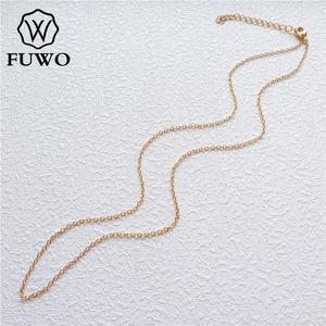 Image 1 - Fuwo atacado latão redondo o corrente colares de alta qualidade anti mancha 24k ouro mergulhado corrente para fazer jóias 1.5*2.0mm nc001
