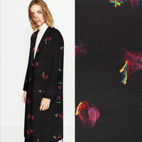 Europe Style Black Background With Colorful Knots Pattern Cashmere Wool Fabric For Coat Dress Winter Woolen
