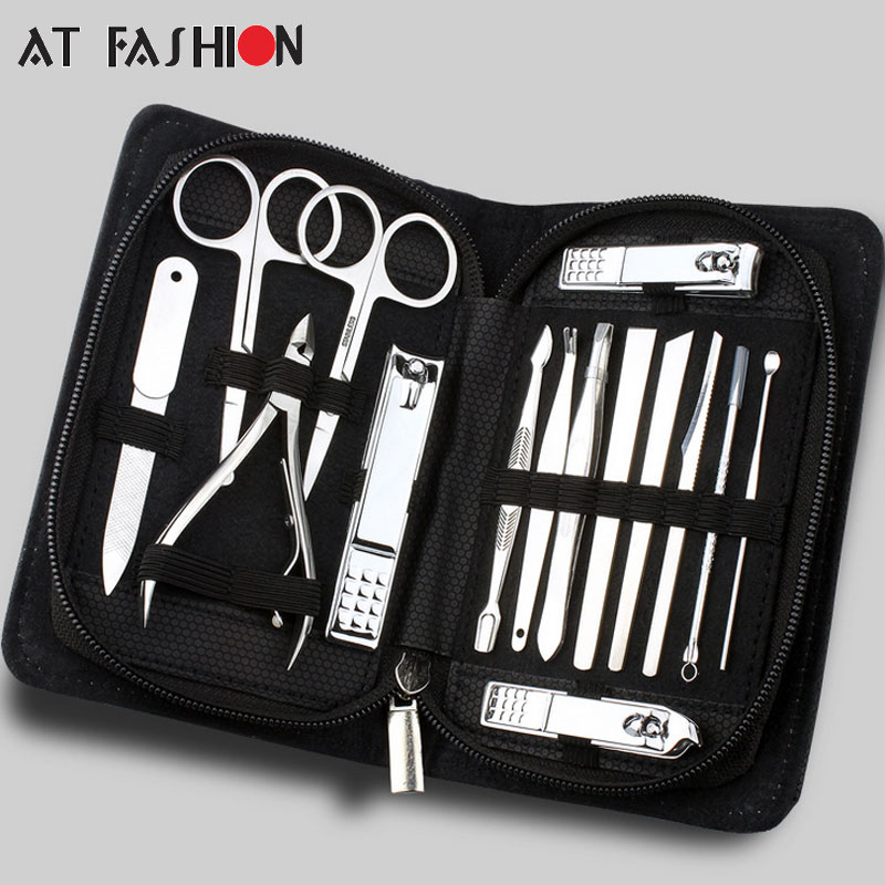 New 15pcs/set Manicure Set Professional Nail Clipper Kit Pedicure Finger Plier Nails Art Beauty Tools Scissors Tweezer Knife stainless steel male nail clipper set ershao nose hair scissors finger cut finger file tweezer