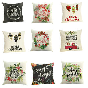 Ouneed Geometric-Case Pillow-Case Happy-Christmas Linen Home-Decor 45--45