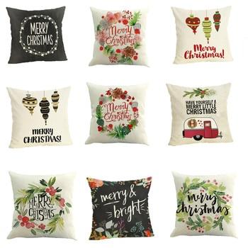 Ouneed 2018 Pillow cover geometric Case 45*45 Happy Christmas Pillow Cases Linen   Home Decor Pillow Case