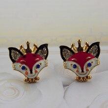Frete grátis nova moda mulher brincos de jóias de ouro liga de zinco fox brincos vermelhos acessórios de vestuário no atacado