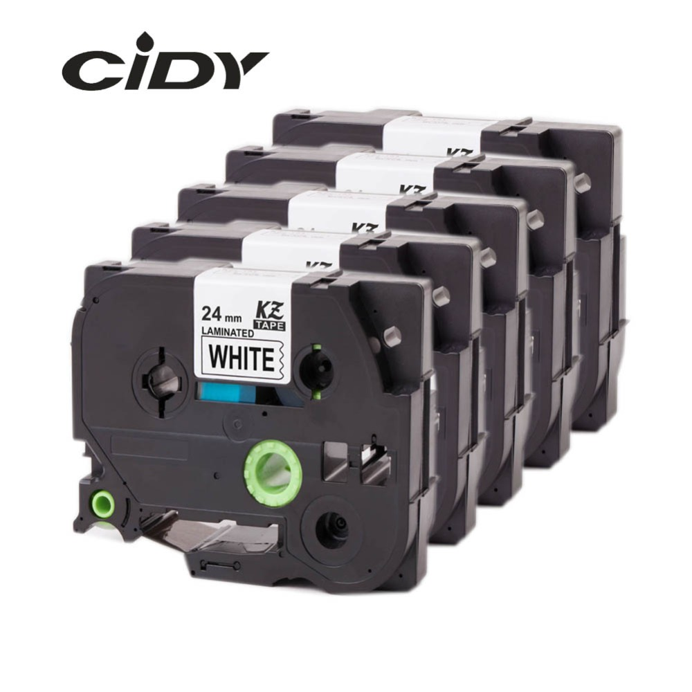 CIDY 5pcs Compatible p touch laminated tze 251 tz251 tze251 tape 24mm Black on white Tape tze-251 tz-251 for brother printers c5706 2sc5706 c5707 2sc5707 to 251