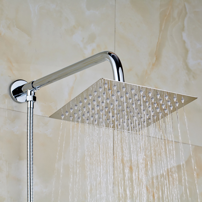 Solid Brass Chrome Polished Bathroom 8 Square Shower Head Shower Arm 150cm Shower Hose