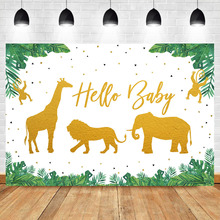 NeoBack Hello Baby Backdrop Jungle Theme Background Golden Elephant Lion Wild Animal for Birthday Party Backdrops Decorations