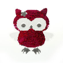 black white Reversible Change color owl Sequins Sew On Patches for clothes DIY Patch Applique Clothing Coat Sweater(China)