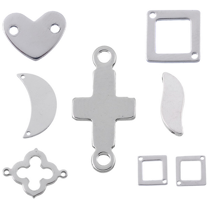 LASPERAL Stainless Steel Metal Bracelets Connectors For Jewelry Making Heart Cross Pendant Connector DIY Findings Components