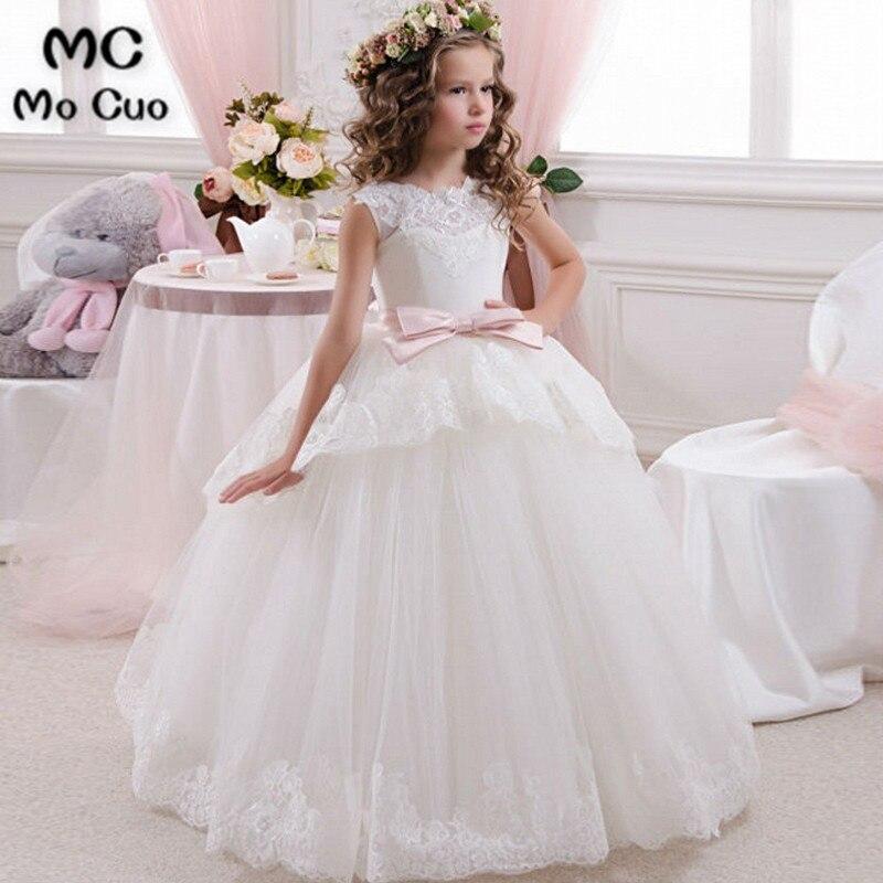 2019 Lovely Elegant Ivory Lace Bow Ribbons   Flower     Girl     Dress   for Weddings First Communion   Dresses   for   Girls