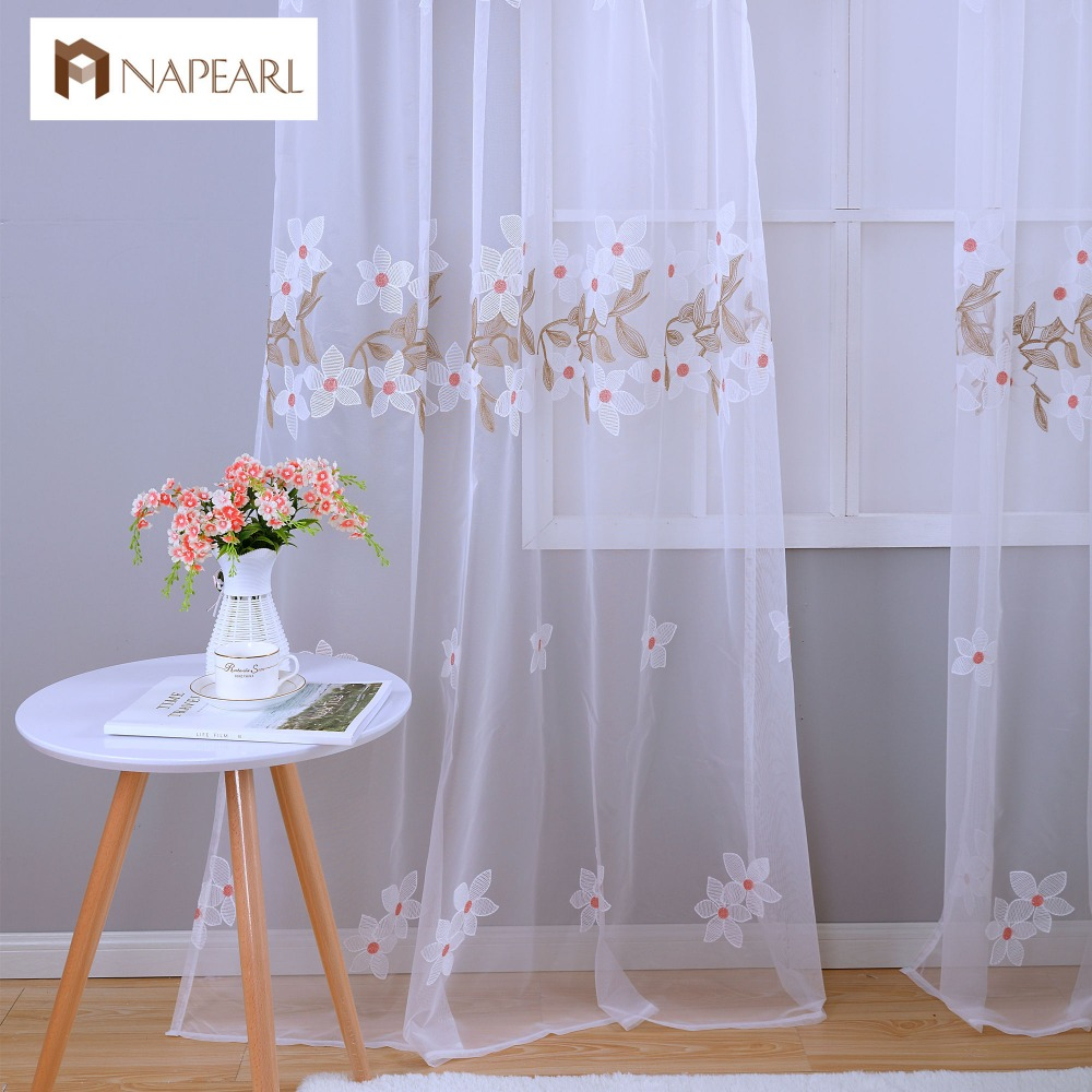 Kids modern bedroom curtains - Pink Floral Tulle Curtain White Modern Sheer Panel Window Treatments Curtain Kid Girl Bedroom Embroidered Fabrics
