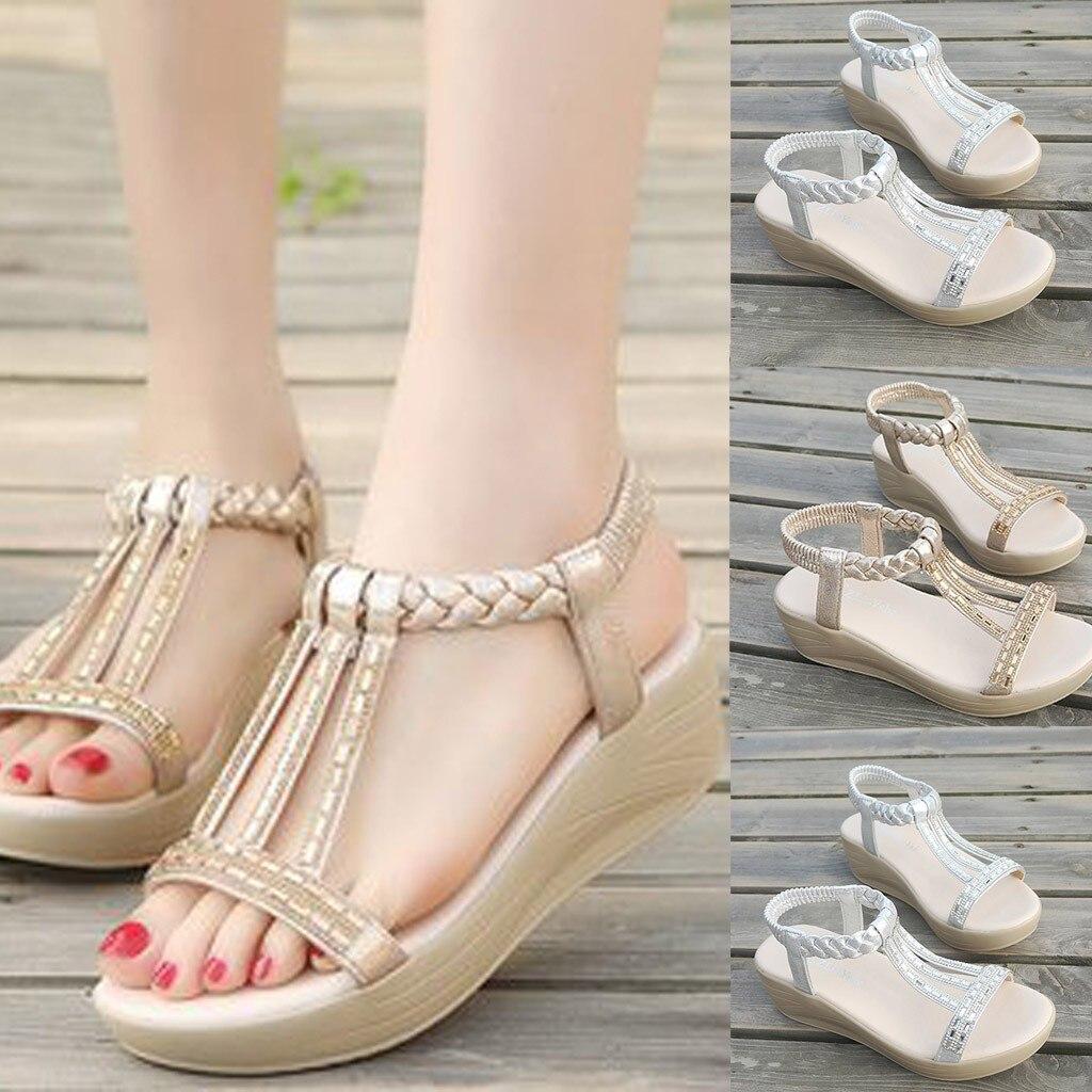 Summer Sandals Shoes Platform High-Heels Flat Women Genuine Casual