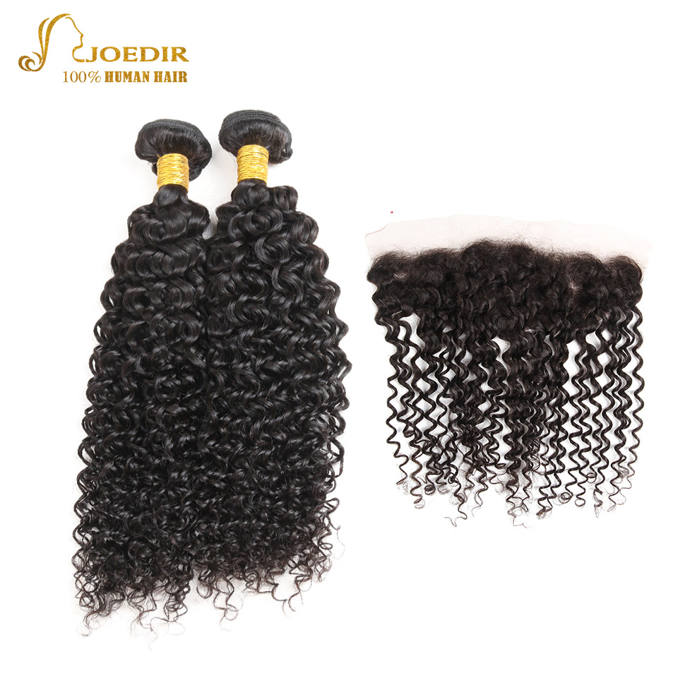 Joedir Brazilian Curly Weave Human Hair with Closure Kinky Curly with Closure Frontal Natural Color 2 Bundles with Frontal