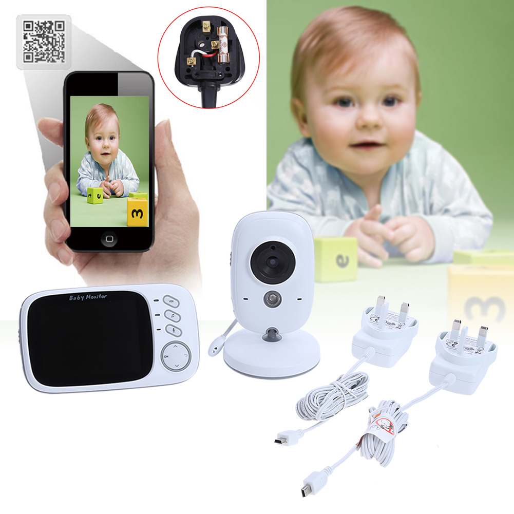 3.2 inch Wireless Video Color Baby Monitor Two-way Intercom Baby Nanny Security Camera Night Vision Temperature Monitoring 7 inch baby monitor 2x night vision camera set two way