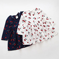 Criança vestidos da menina cair roupas Cereja do bebê frock designs algodão criança princesa trajes de natal dot 2-6A menina da roupa do bebê