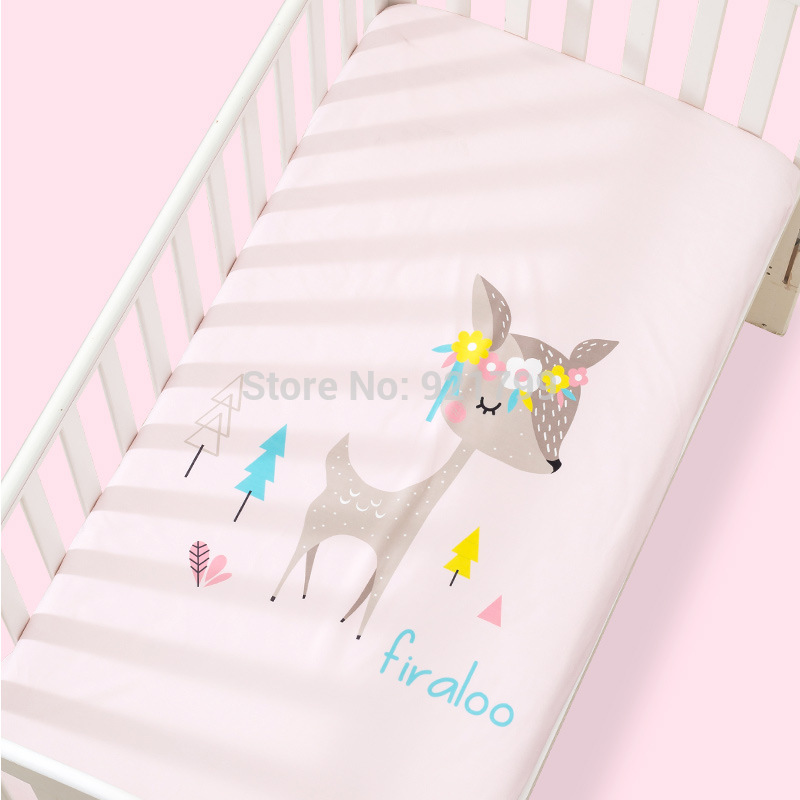100%Cotton Crib Fitted Sheet Super Soft Baby Bed Mattress Cover Protector Cartoon Sika Deer Newborn Bedding for Cot Size120*65cm