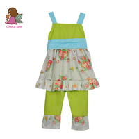 New Design Girls Boutique Clothing Set Summer Style Lovely sleeveless Splice Top with belt Green Pants Cute Girl Sets S074