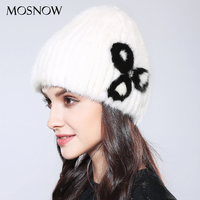 MOSNOW 100 Real Mink Fur Hat Women S Winter Knitted Beanie 2017 Fashion Flower Brand New