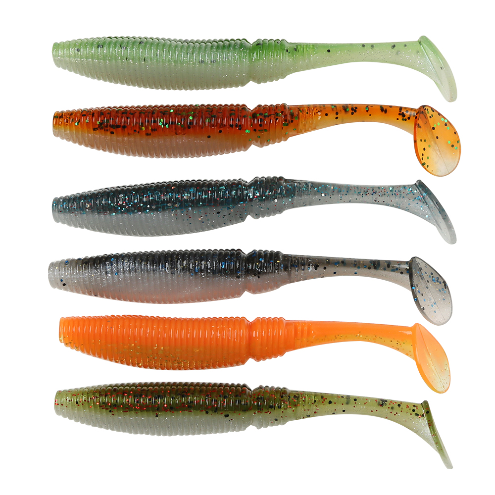 Soft Fish Fishing Lure 10cm/8g Swimbaits Plastic Isca Artificial Soft Lures With Salt Fishing Tackle 6pcs/lot Double Color Lure