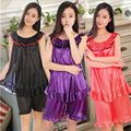 Factory direct Summer Women's Sexy wearing loose pajamas silk chiffon lace Shorts Nightdress wholesale Indoor Clothing Sleepwear