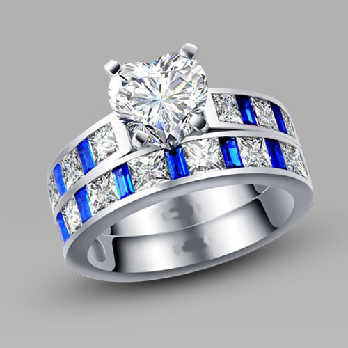 Heart Cut White And Blue Cubic Zirconia Silver Women S Wedding Ring Set Promise