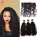 7A brasileño mojado y ondulado pelo de la virgen con cierre 4 unids virginal brasileño del cordón Frontal con Bundles productos para el cabello CARA
