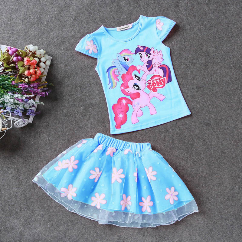 KEAIYOUHUO-Summer-Toddler-Girls-Set-Baby-Kid-Princess-Clothes-Children-Cartoon-Party-pony-lace-dress-cotton-T-Shirt-Skirt-Suit-3